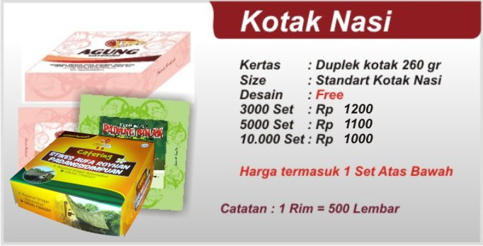 Cetak Kotak Nasi di Medan